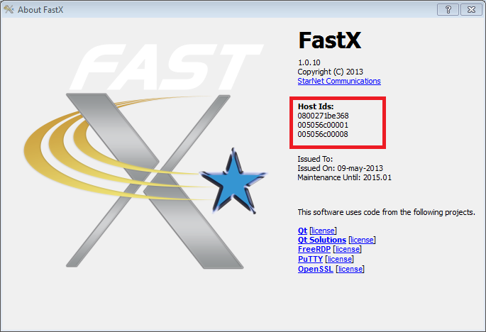 FastX Host Id