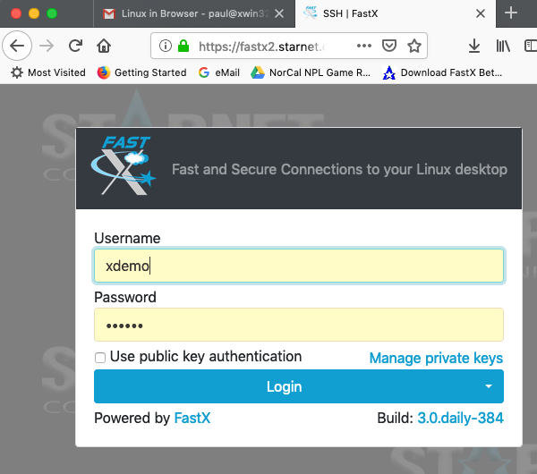 login FastX Browser Linux in Browser